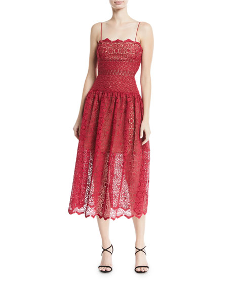 Sleeveless Floral-Lace Midi Cocktail Dress