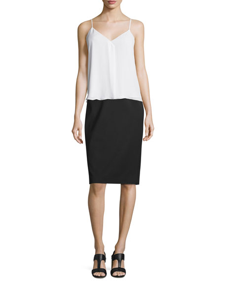 Mid-Rise Wool Pencil Skirt