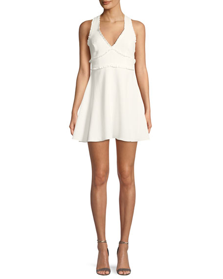 Knolls V-Neck Sleeveless Fit-and-Flare Dress w/ Ruffled Trim