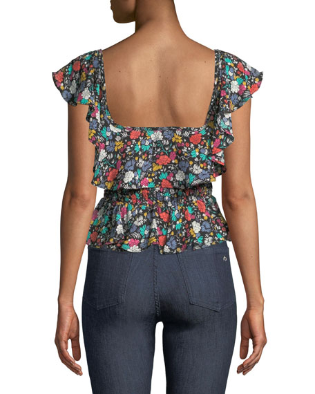 Lavato Floral-Print Off-the-Shoulder Ruffle Top