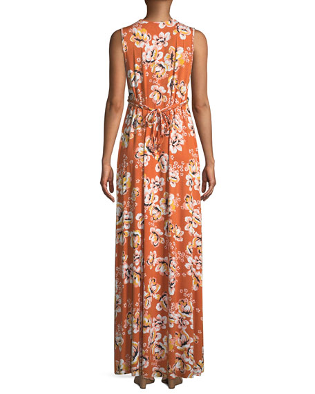 Long Sleeveless Zahara-Print Dress
