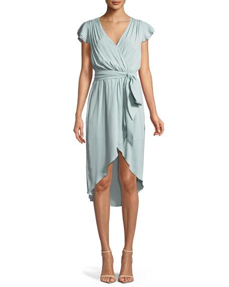 Ilissa Flutter-Sleeve Silk Wrap Dress
