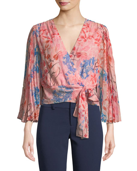 Alice + Olivia Bray Pleated-Sleeve Floral-Print Silk Wrap