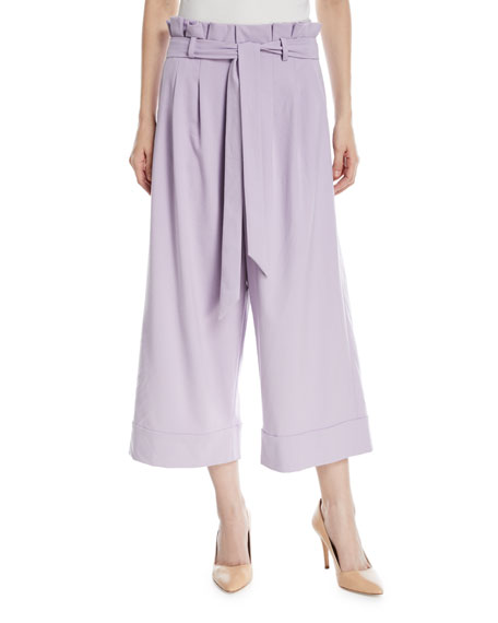 Ryan Paperbag Wide-Leg Crop Pants