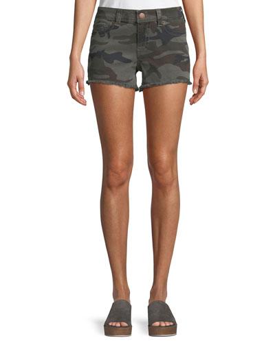 Kiera Mid-Rise Camo Shorts