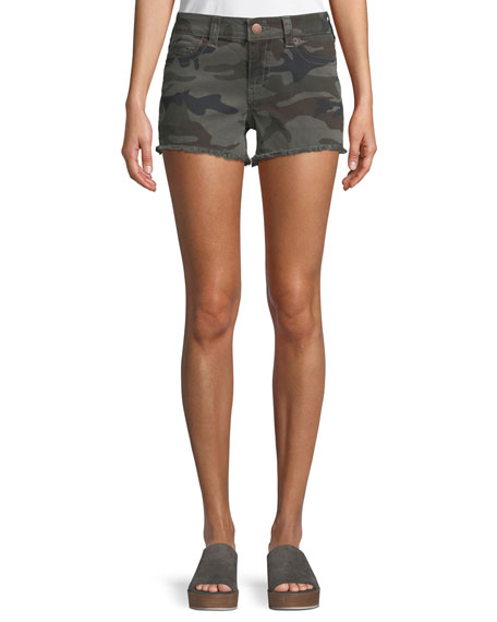 Keira Mid-Rise Shorts In Eva Camo, Gray