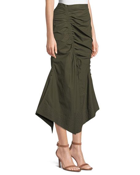 Raquel Ruched Poplin Maxi Skirt