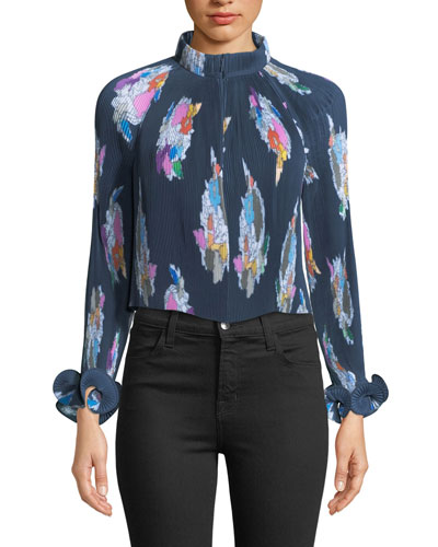 Camellia Pleated Floral-Print Top