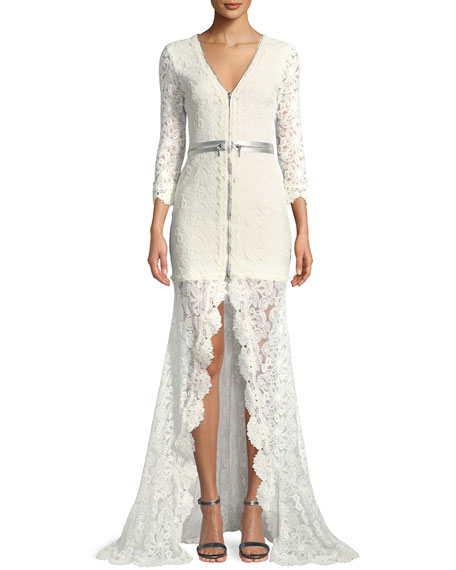 Finola Lace Zip-Front Gown