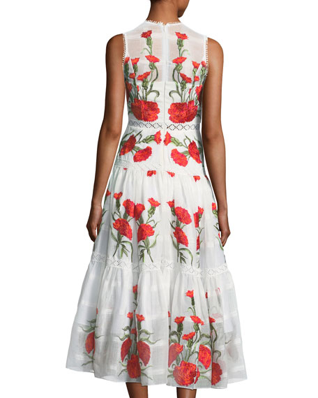 Leomie Sleeveless Floral-Embroidered Dress