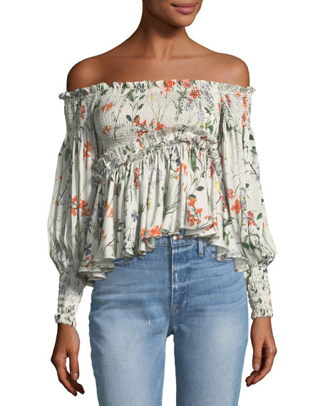 Elsa Off-the-Shoulder Floral-Print Top