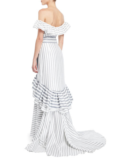 Madelia Striped Ruffle High-Low Gown