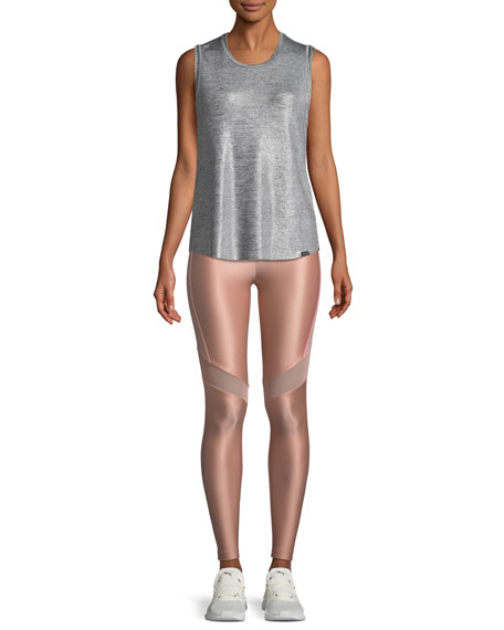 Western High-Rise Mesh-Panel Performance Leggings