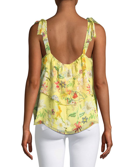 Percy Scoop-Neck Floral-Print Silk Top