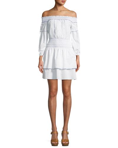 Kara Off-the-Shoulder Long-Sleeve Cotton Dress