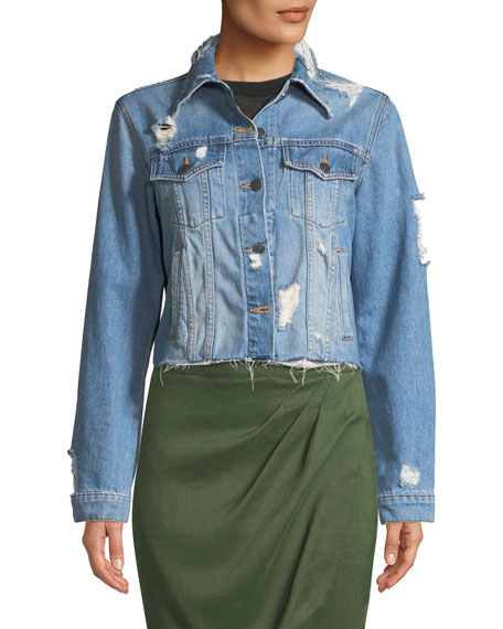 Cara Cropped Distressed Jean Jacket