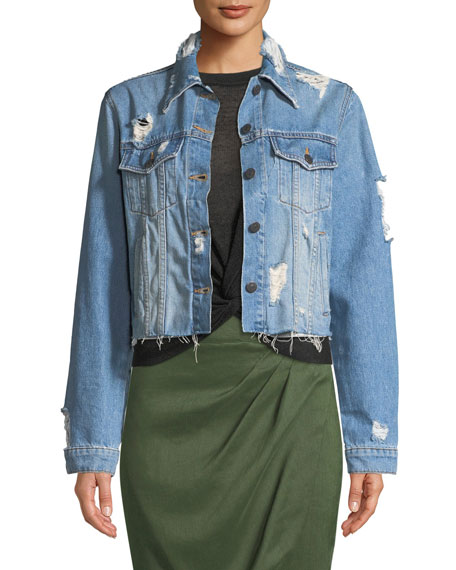 Veronica Beard Cara Cropped Distressed Jean Jacket and