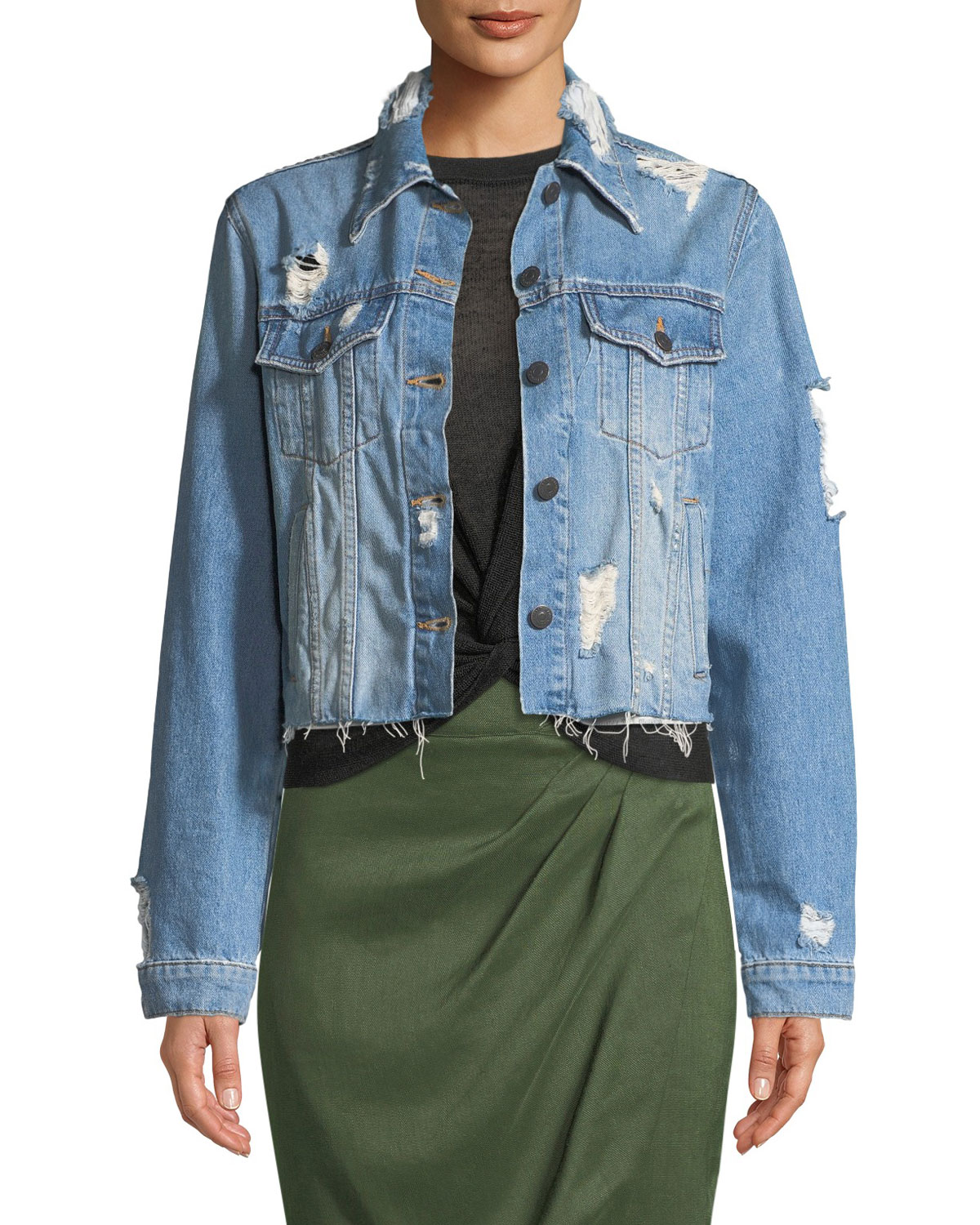 d9ef9f89ba94f Quick Look. Veronica Beard · Cara Cropped Distressed Jean Jacket. Available  in Blue