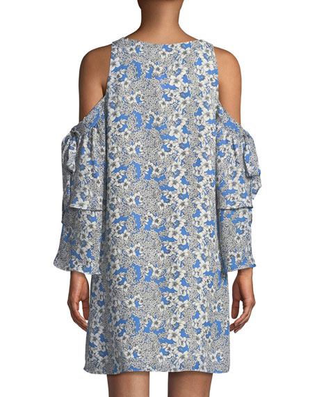Aryanna V-Neck Cold-Shoulder Floral-Print Silk Dress