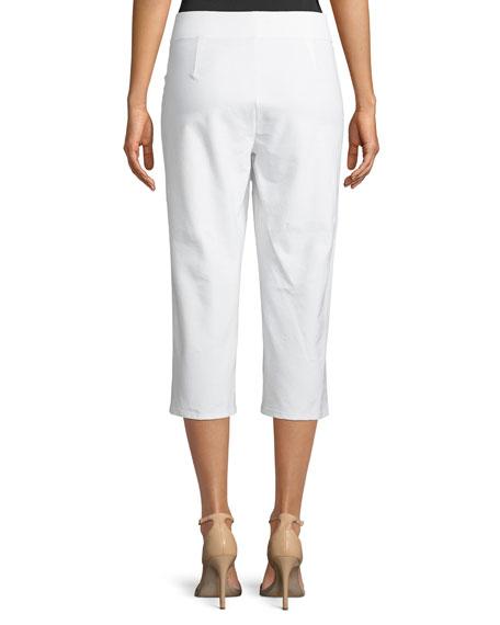 Slim Washable Crepe Capri Pants, Petite