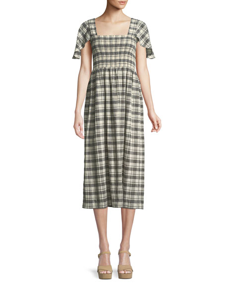 The Gimlet Plaid Cotton-Linen Midi Dress