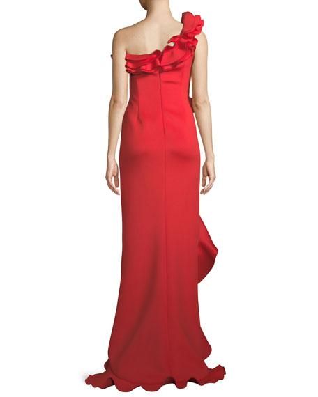 One-Shoulder Long Ruffle Gown