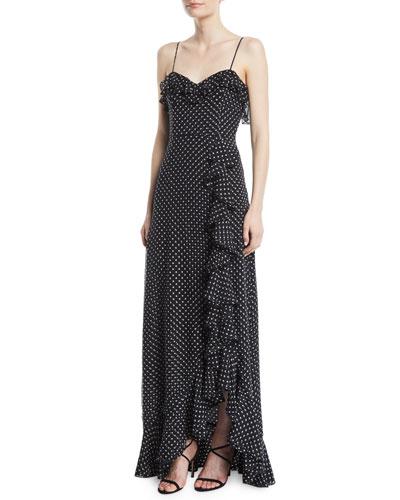 Mila Polka Dot Chiffon Silk Dress