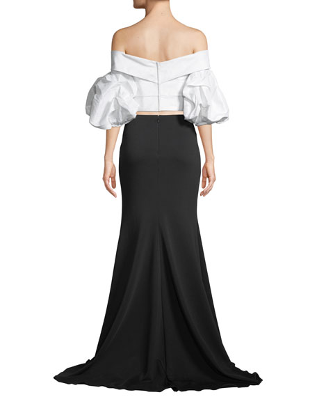 Two-Piece Dress w/ Taffeta Top & Mermaid Skirt