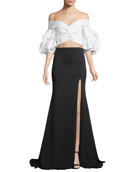 Jovani Two-Piece Dress w/ Taffeta Top & Mermaid