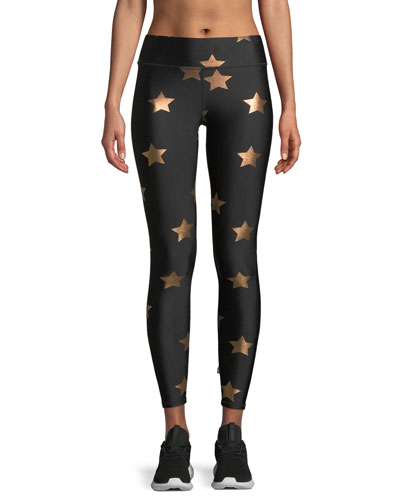 Terez Star Foil Printed Tall Band Performance Leggings