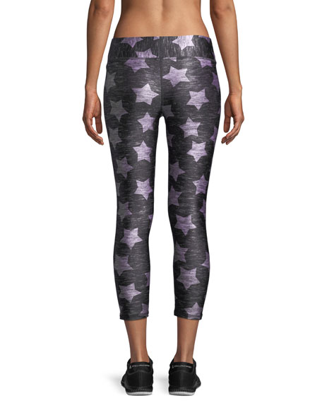 Heathered Stars-Print Capri Leggings