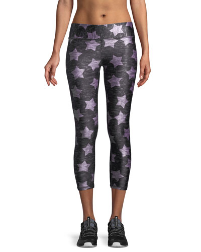 Terez Heathered Stars-Print Capri Leggings