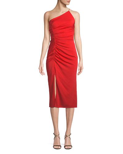 Ashton One-Shoulder Stretch Silk Cocktail Dress