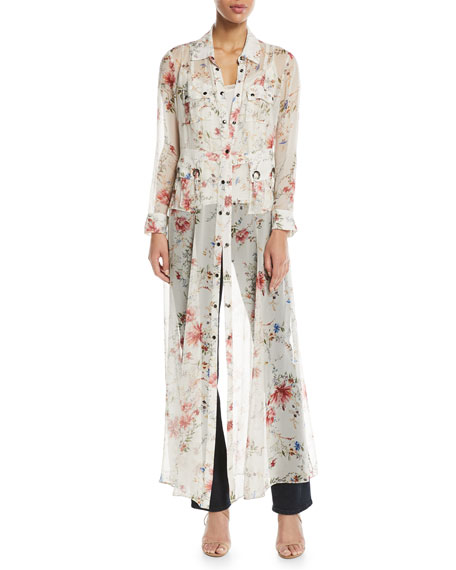 Haute Hippie Last-Draw Floral-Print Snap Front Gown