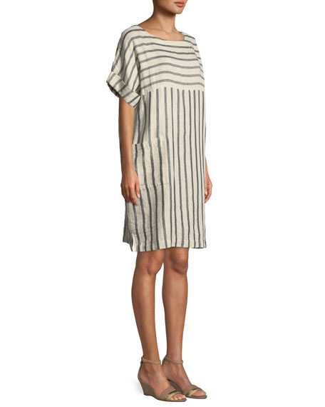 Striped Linen-Blend Shift Dress
