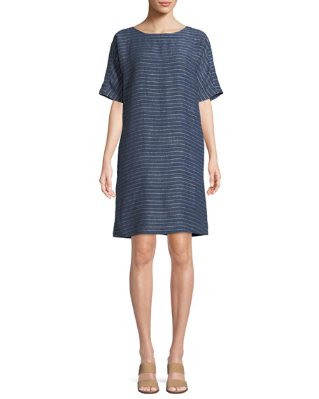 Eileen Fisher Pinstriped Denim Half-Sleeve Tunic Dress and