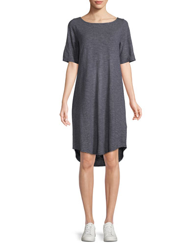 Striped Half-Sleeve Hemp-Blend Shift Dress, Petite