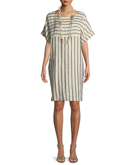 Striped Linen-Blend Shift Dress, Petite