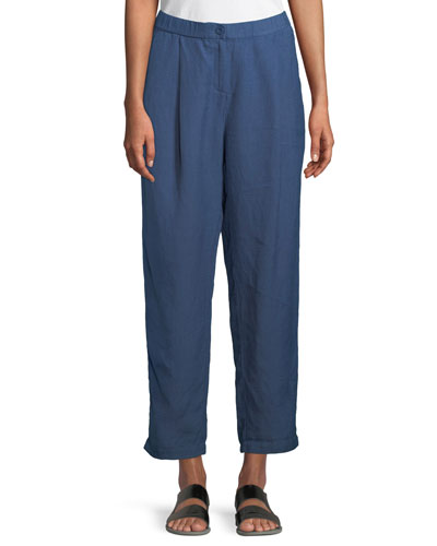 Organic Linen-Crepe Pleated Ankle Trouser Pants, Petite