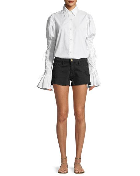 Le Cut Off Tulip-Hem Denim Shorts
