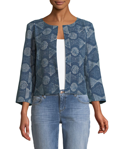 3/4-Sleeve Hand-Printed Jacket