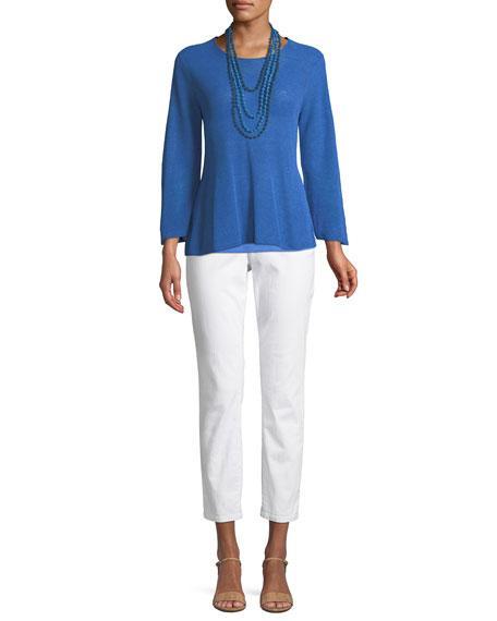 3/4-Sleeve Linen-Blend Sweater, Petite
