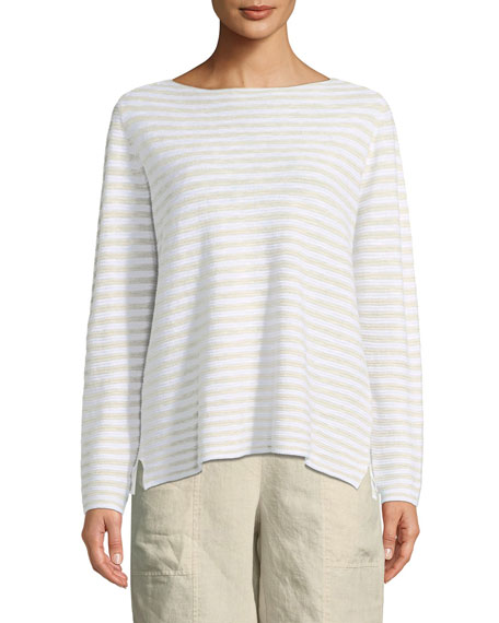 Striped Long-Sleeve Organic Linen/Cotton Sweater, Plus Size
