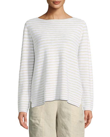 Striped Long-Sleeve Organic Linen/Cotton Sweater, Petite