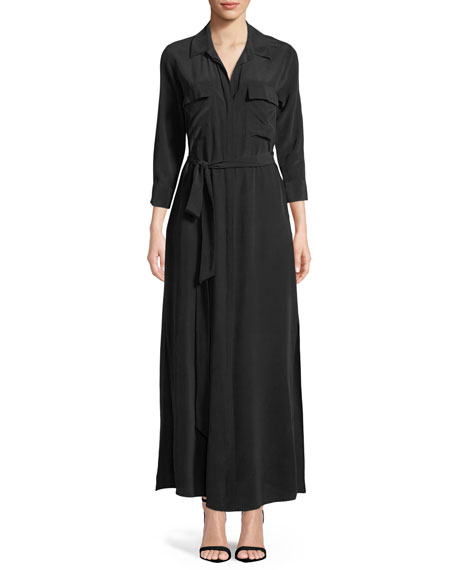 Cameron Long-Sleeve Belted Silk Shirtdress