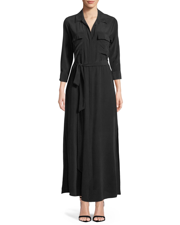 Lagence Cameron Long Sleeve Belted Silk Shirtdress Neiman Marcus