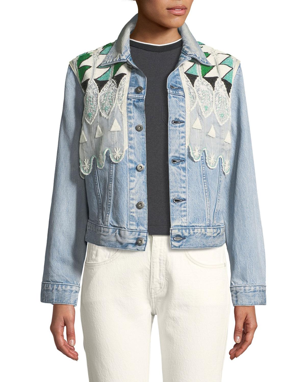f4496f2bd5d Levi s Made   Crafted Boyfriend Denim Trucker Jacket w  Embroidery ...