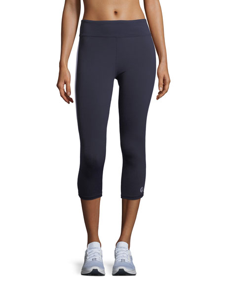 High-Visibility Reflective-Stripe Cropped Leggings