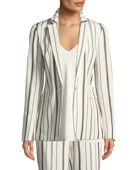 Marie Gallant-Striped One-Button Blazer