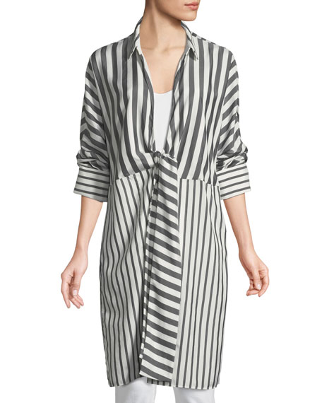 Rowlan Showcase Stripe Silk Duster Jacket